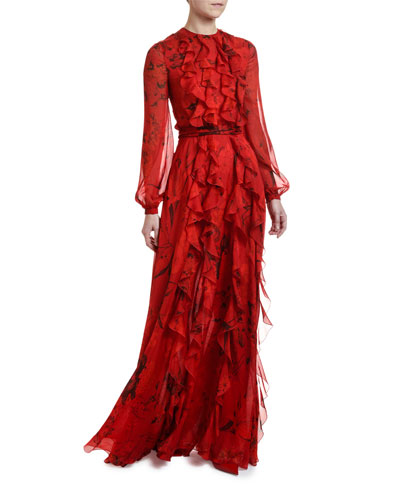 Long-Sleeve Ruffle-Front Floral Chiffon Gown