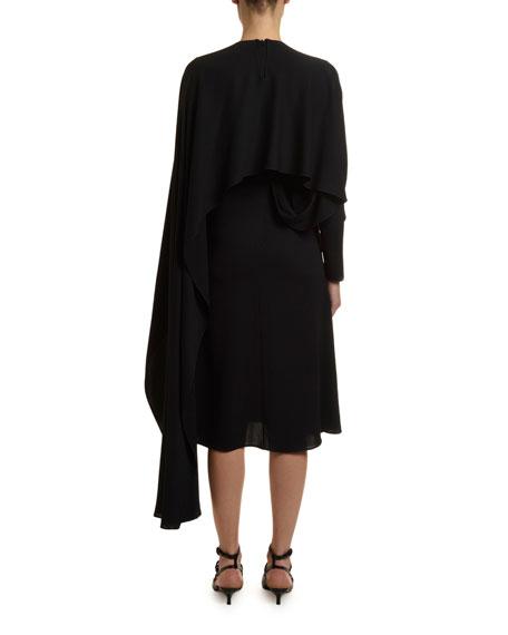 Draped Jersey Cape Dress