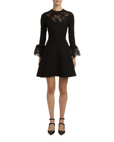 Lace-Inset Crepe Couture Bell-Sleeve Dress