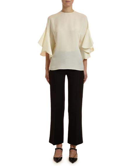 Georgette Draped-Sleeve Blouse