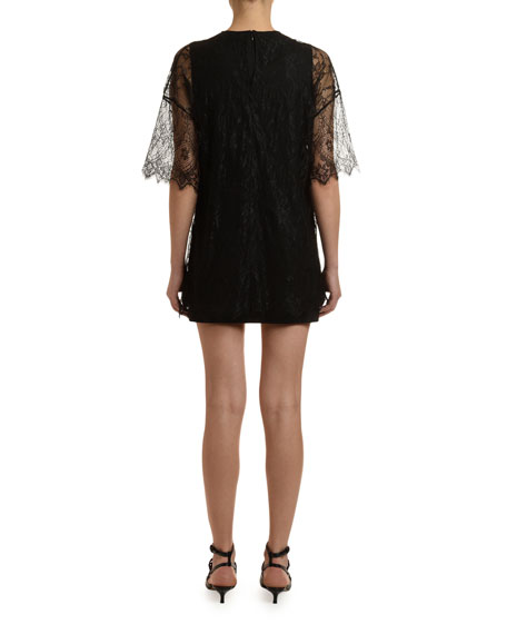 1/2-Sleeve Shift Dress w/ Lace Overlay