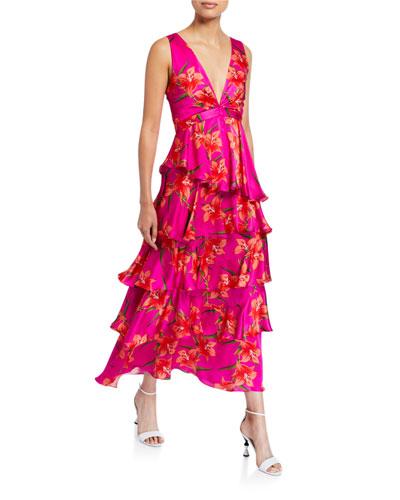 Flavia Floral-Print Hammered Satin Tiered Dress