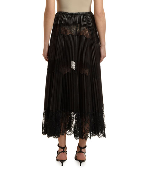 Lace-Inset Pleated Leather Skirt