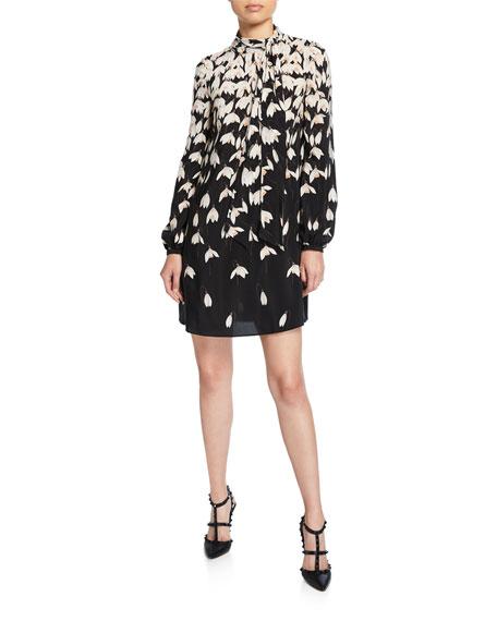 Long-Sleeve Floral-Print Crepe de Chine Dress