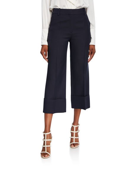 Crepe Couture Pleated-Front Crop Pants