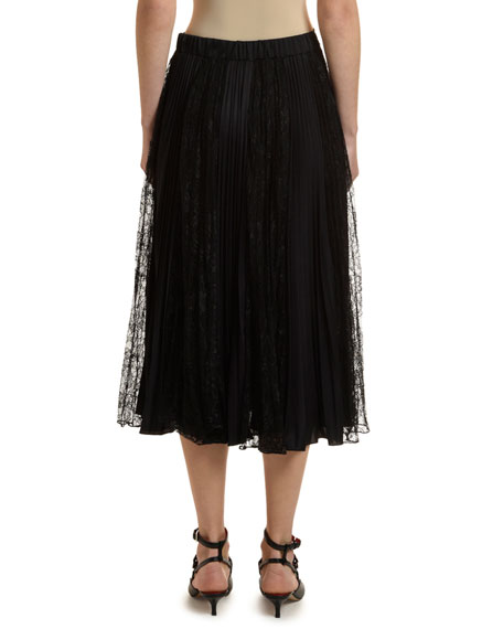 Lace-Inset Pleated Jersey Skirt
