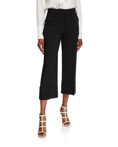 Comfort Crepe Pleated-Front Crop Pants