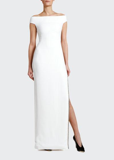 Off-the-Shoulder Crystal-Trim Gown