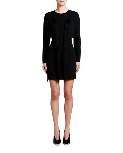 Fringe-Front Crewneck Mini Dress