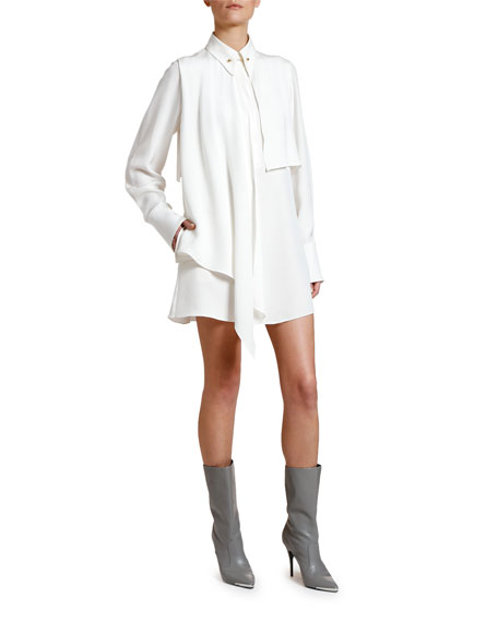 Scarf-Neck Long-Sleeve Mini Shirtdress