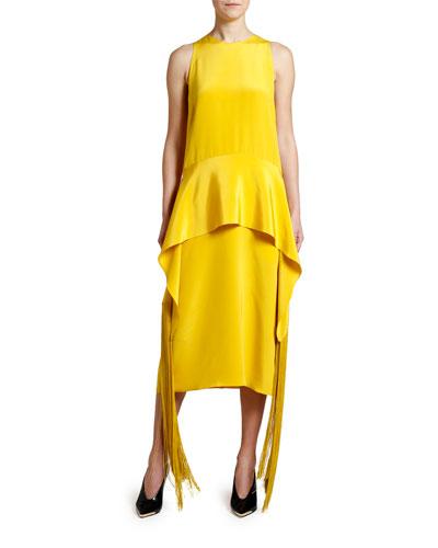 Fringe-Belt Sleeveless Midi Dress