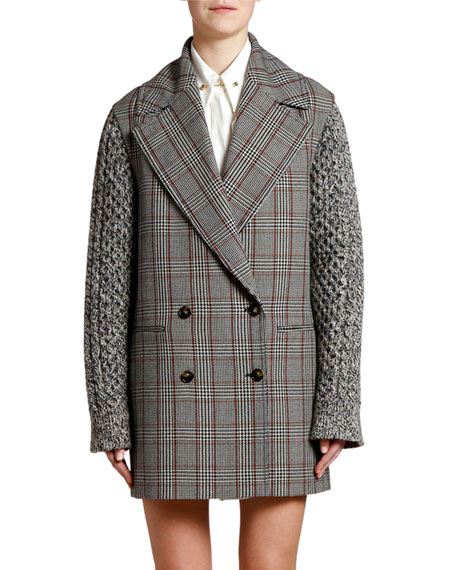 Plaid Knit-Sleeve Oversized Pea Coat