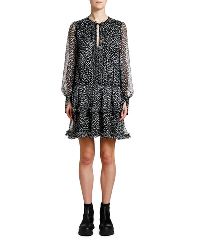 Metallic-Dotted Tie-Neck Boho Dress