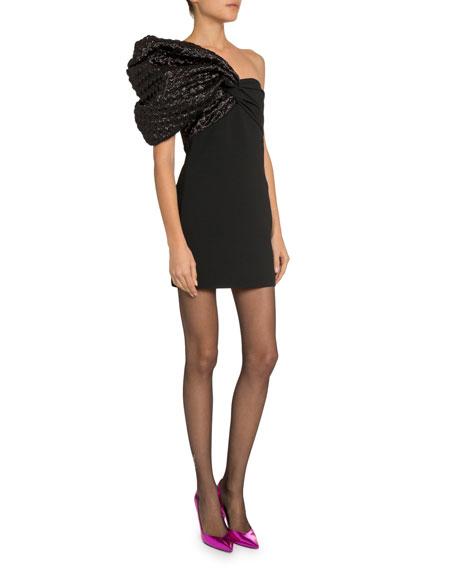 One-Shoulder Heart Jacquard Dress