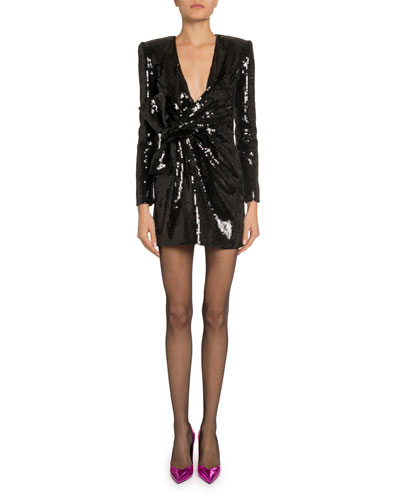 Long-Sleeve Sequined Mini Cocktail Dress