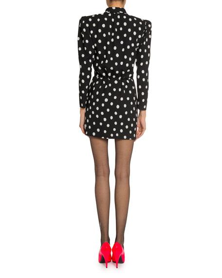 Polka-Dotted Tie-Neck Mini Dress