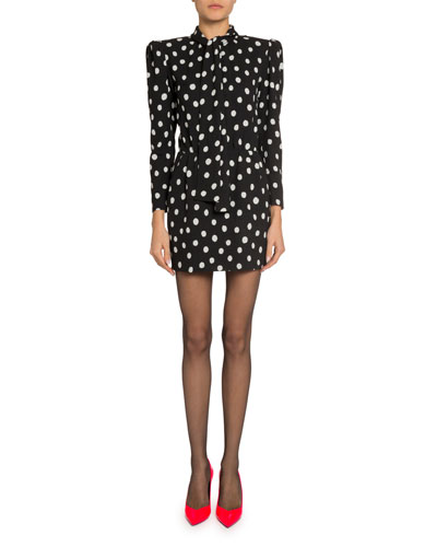 Polka-Dotted Tie-Neck Mini Dress