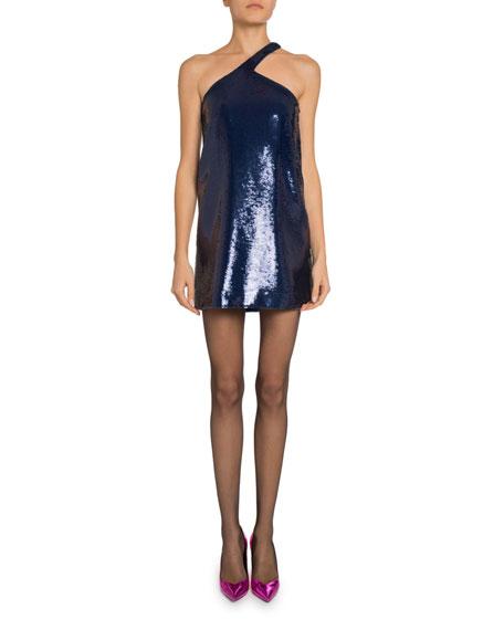 Sequined Asymmetric Halter Dress