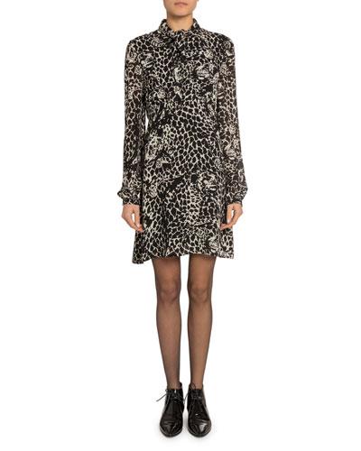 Leopard Print Tie-Neck Long-Sleeve Mini Dress