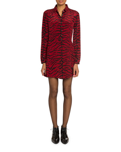 Tiger-Print Silk Button-Front Shirtdress