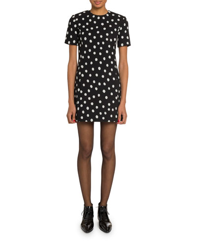 Polka Dot Short-Sleeve Mini Dress