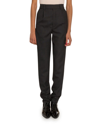 Striped High-Waist Straight-Leg Trousers