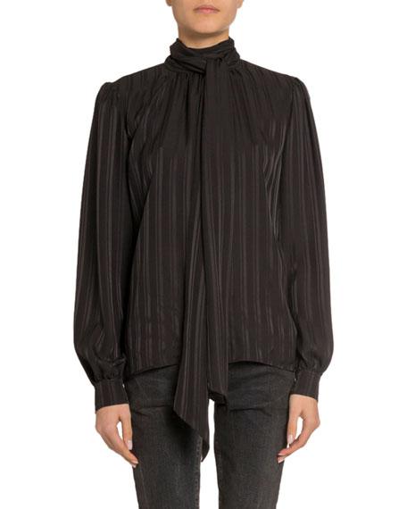 Stripe-Jacquard Tie-Neck Silk Blouse