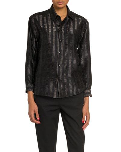 7e6f0ecf9bff Metallic Stripe Long-Sleeve Button-Down Blouse Quick Look. Saint Laurent