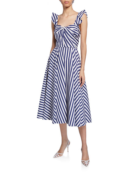 Knotted Striped-Poplin Midi Dress