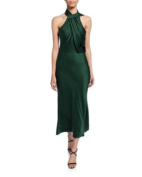 Satin Twisted Halter Midi Dress