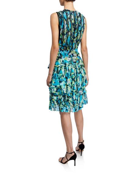 Floral-Print Tiered Ruffle-Chiffon Dress