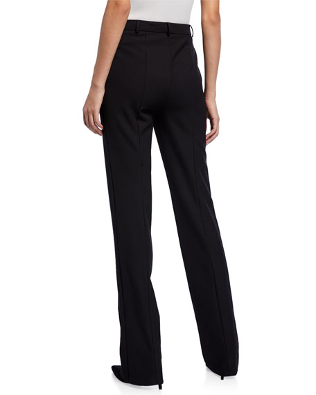 Twill Suiting Straight-Leg Pants