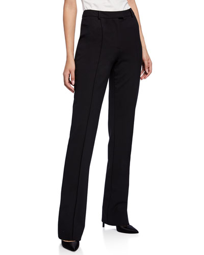 Twill Suiting Straight-Leg Pants