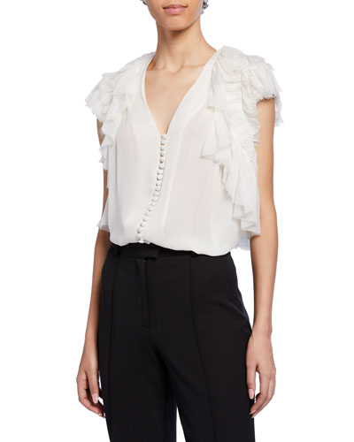 Crinkled Chiffon Button-Front Blouse