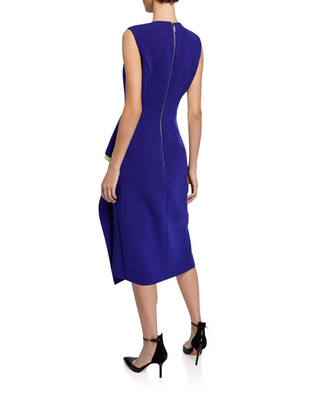 Compact Crepe Cascading Midi Dress