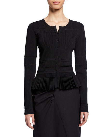 Jason Wu Collection Pleated-Hem Button-Front Cardigan