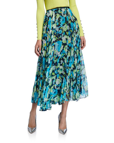 Floral-Print Chiffon Pleated Midi Skirt
