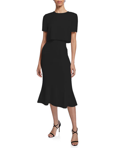 Convertible Soft Crepe Midi Dress