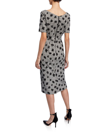 Floral Plaid Sweetheart Midi Sheath Dress