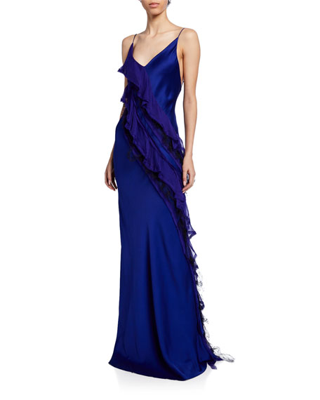Cascading Satin Ruffled Gown