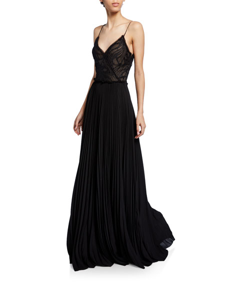 Water Lace Spaghetti Strap Gown