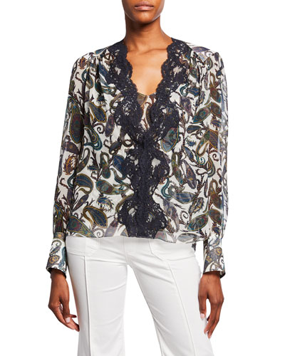 Paisley-Print Lace-Trim Georgette Blouse