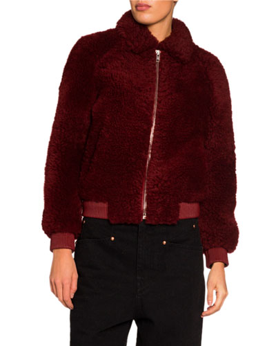 Collared Zip-Front Shearling Bomber Jacket