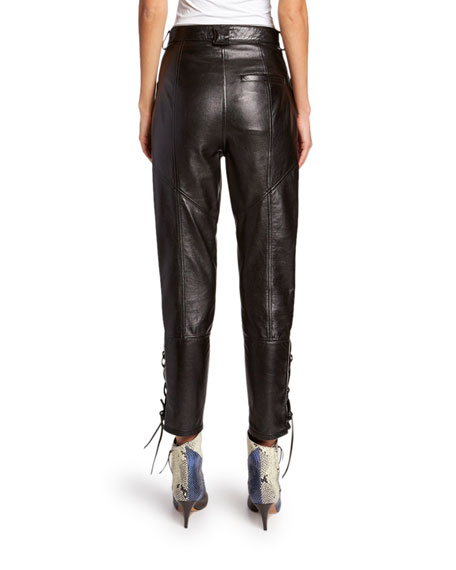 Leather Lace-Up Pants