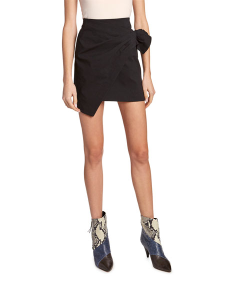 Poplin Wrap-Front Skirt