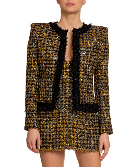 Balmain Metallic Tweed Open-Front Jacket
