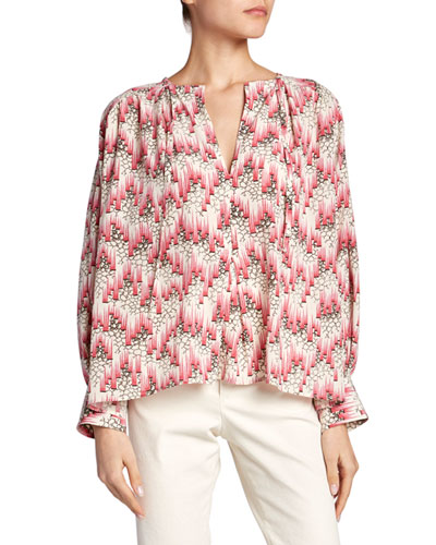 Floral Georgette Long-Sleeve Blouse