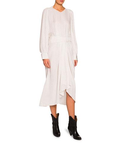 Jacquard Silk V-Neck Asymmetric Dress