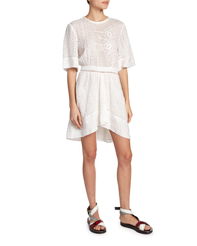 Eyelet-Lace Asymmetric Dress