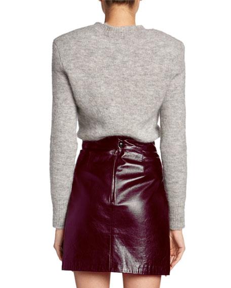 Structured-Shoulder Wool Crewneck Sweater